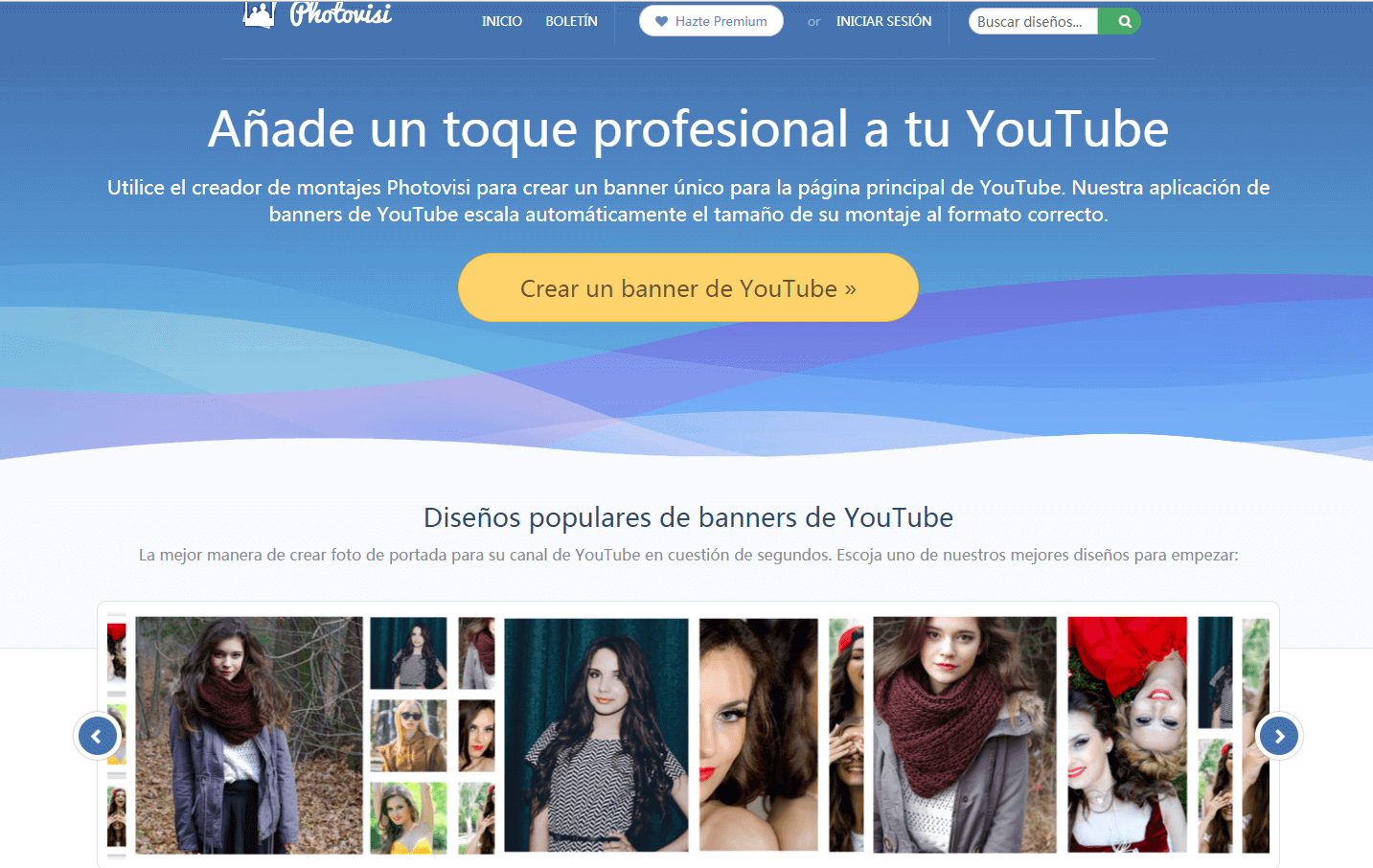 Photovisi creador de banner para YouTube