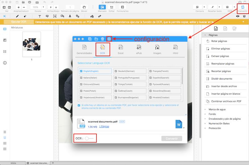 convertir pdf escaneado