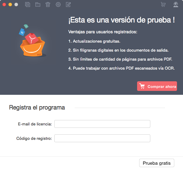 Registrar PDF Converter Pro para Mac