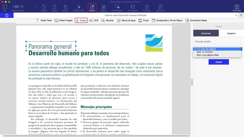 añadir hipervinculo en PDF