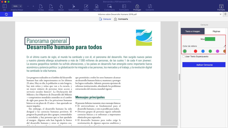censurar contenido pdf mac