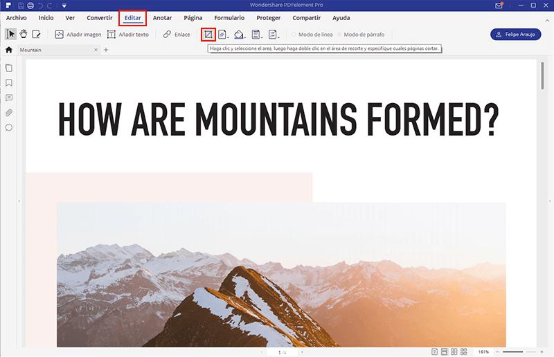 cómo recortar en pdf