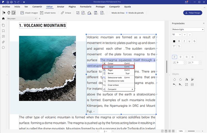 seleccionar texto en archivos pdf