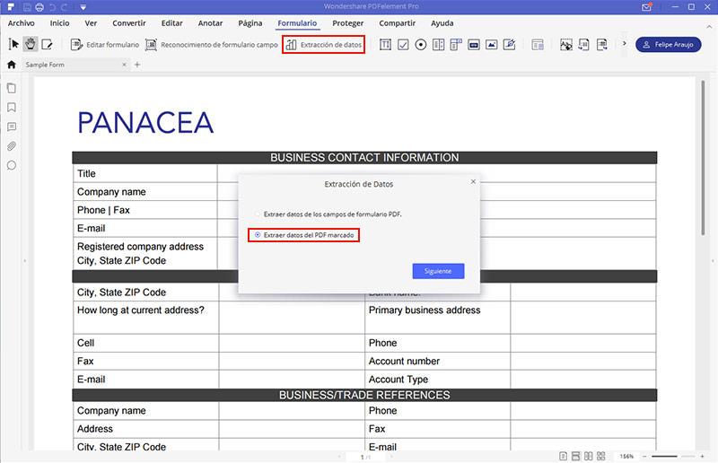 extraer datos del formulario pdf