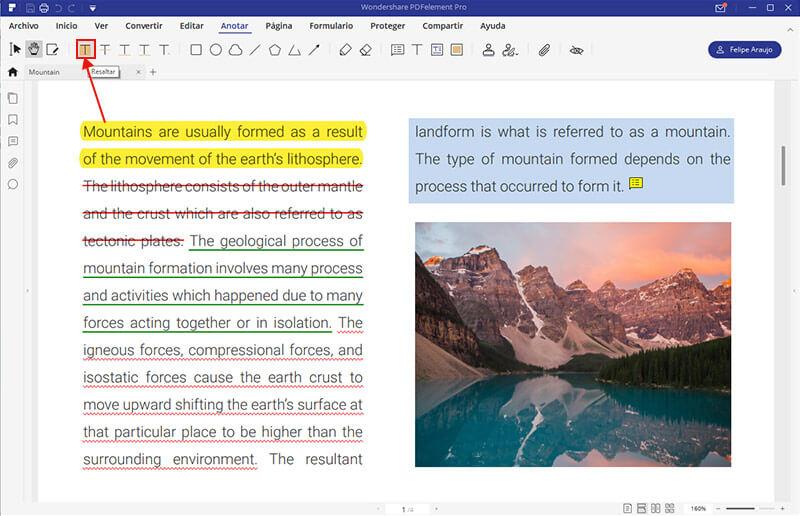 cambiar el color de resaltado en pdf