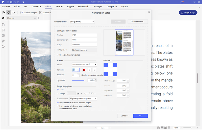 añadir numeracion de bates pdf