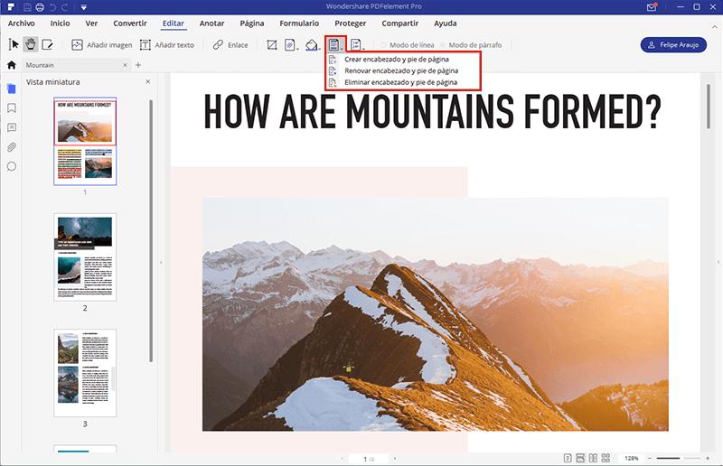 añadir número de página en pdf