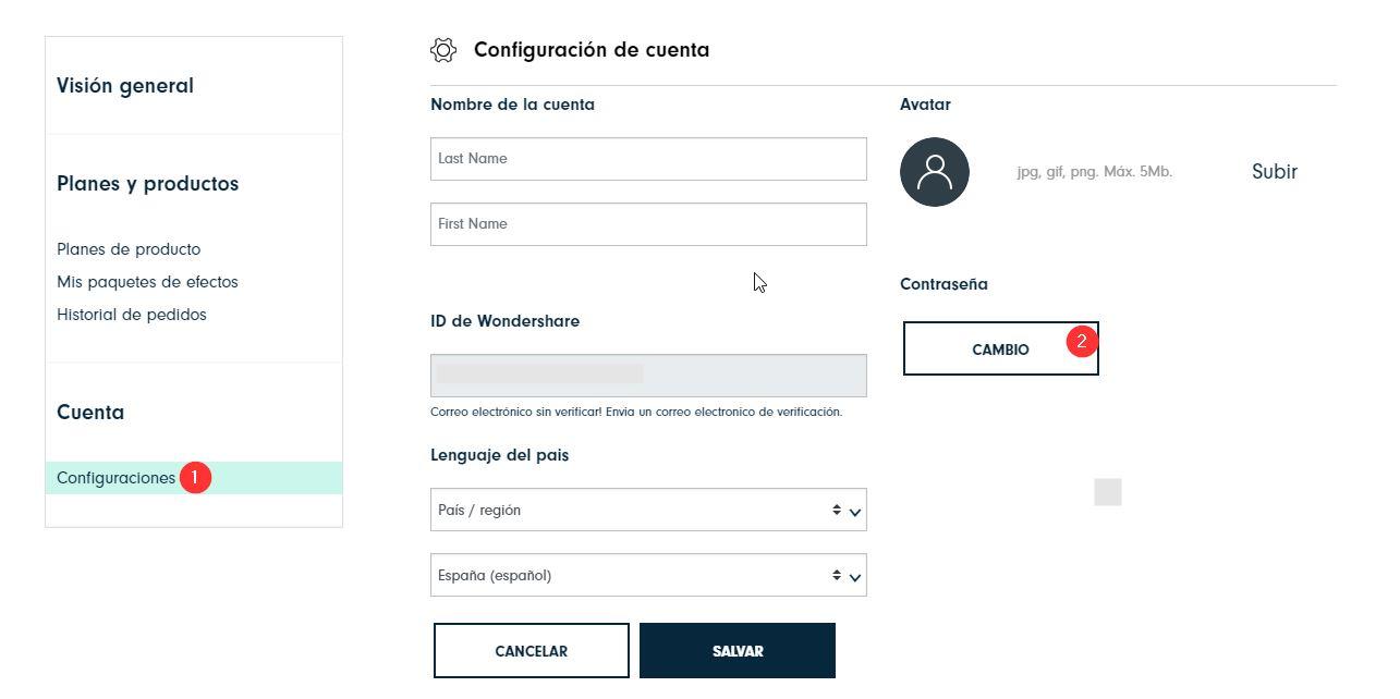 Cambiar la contraseña de WSID en el sitio web de Filmora