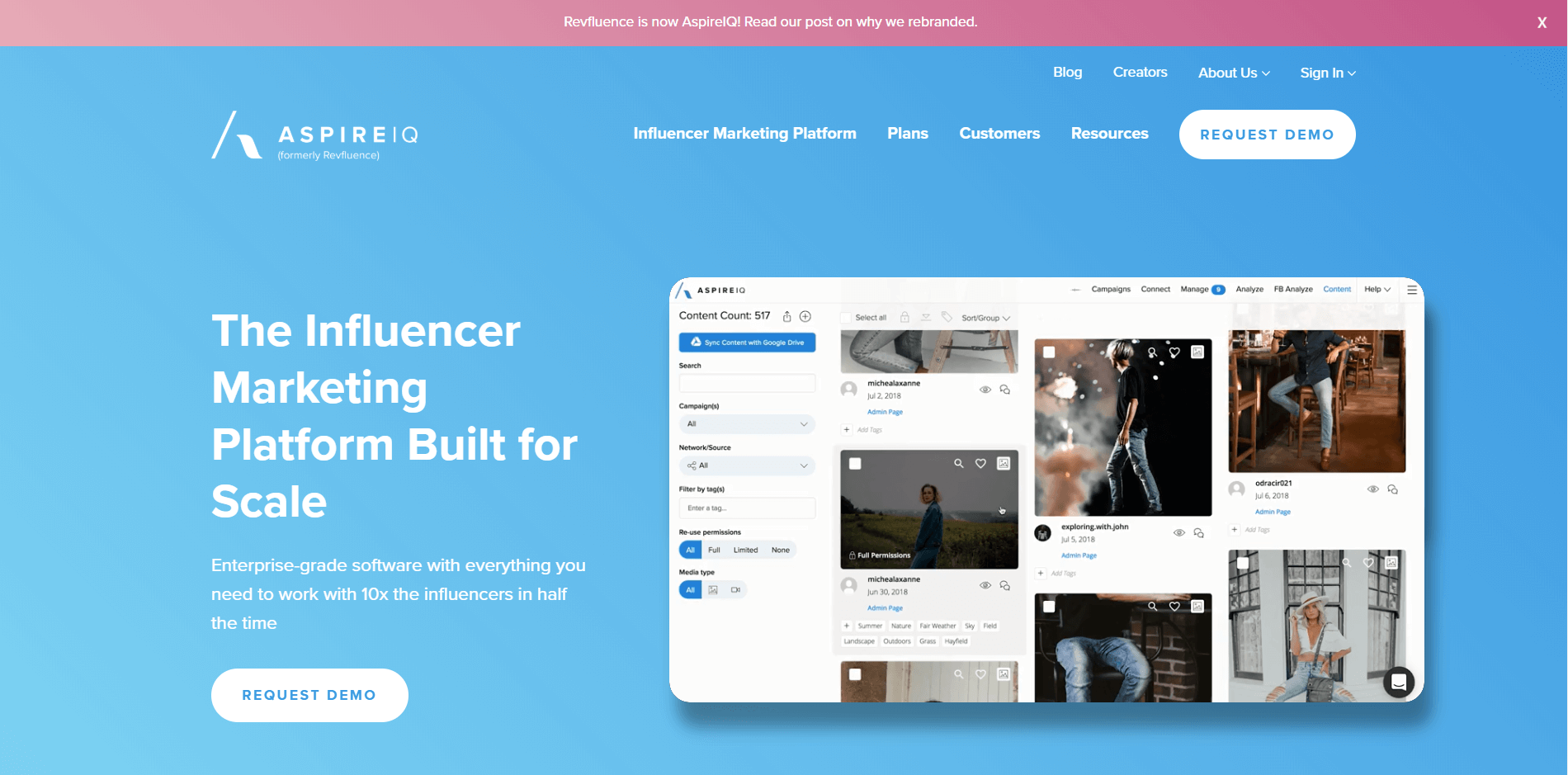 evfluence/Aspireiq plataforma de influencer marketing