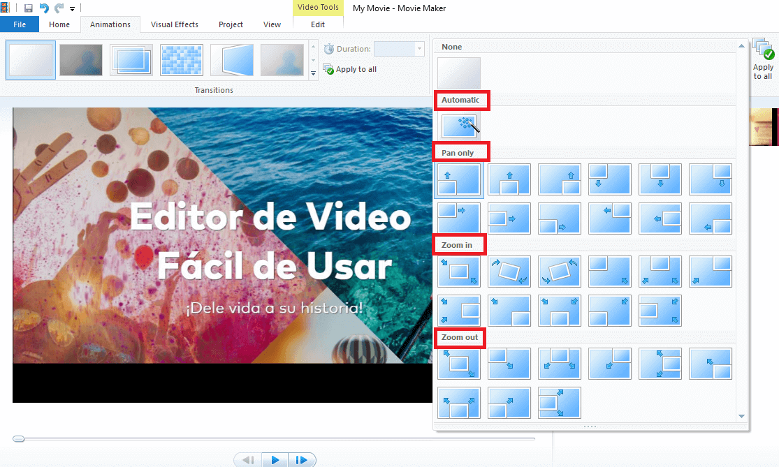 hacer zoom en movie maker