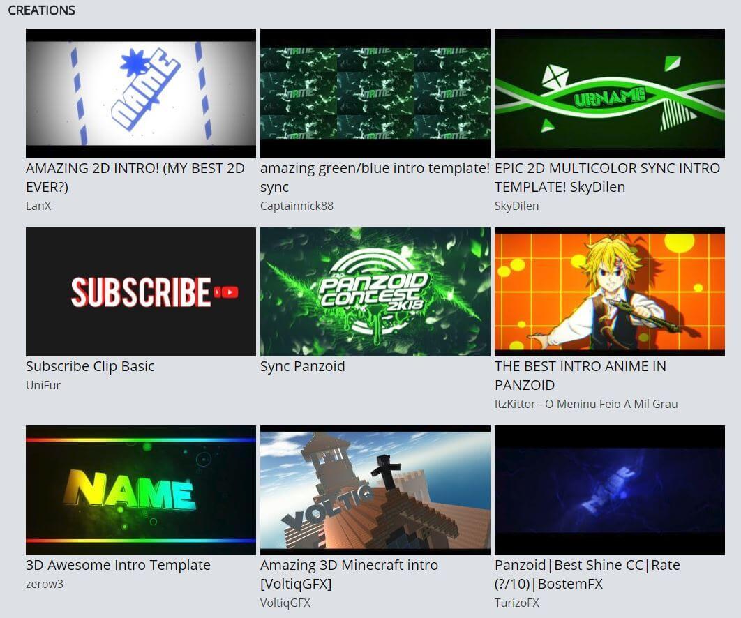 hacer intros de video juegos para YouTube en panzoid