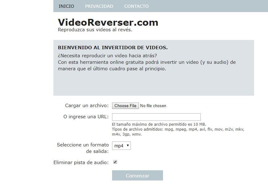 reproducir video hacia atras online