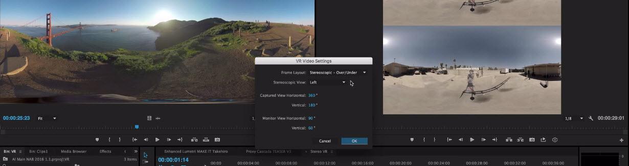 Editar vídeos de 360° con Premiere Pro - Ajustes
