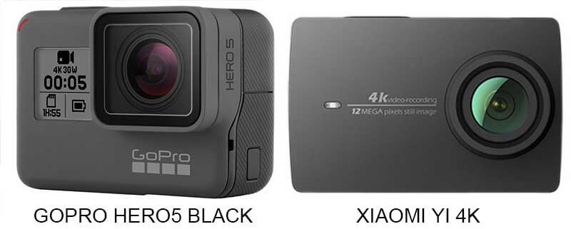 Hero5 Black vs Yi 4K action camera