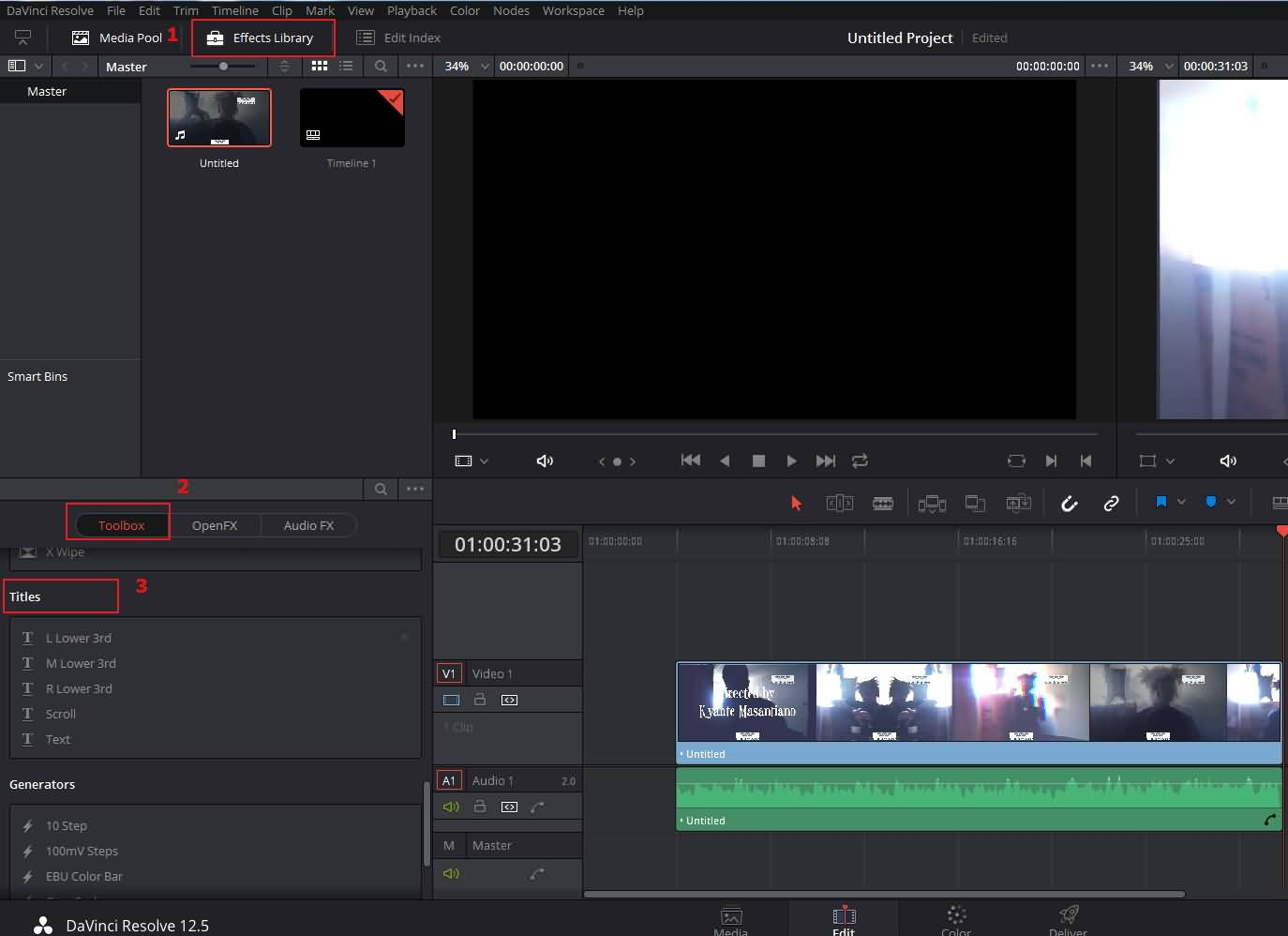 add titles in davinci resolve step 2