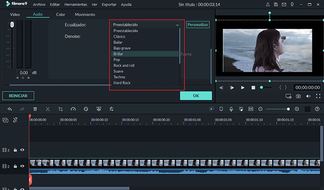 adjust video sound quality