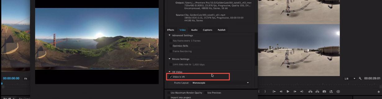 Editar vídeos de 360° con Premiere Pro - Exportar vídeo de RV