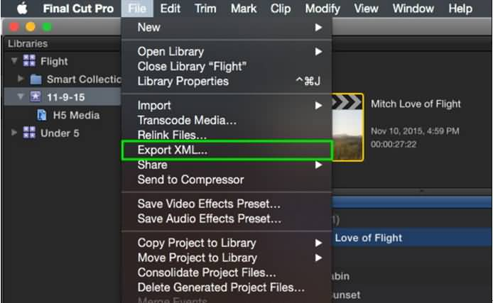 export XML from Final Cut