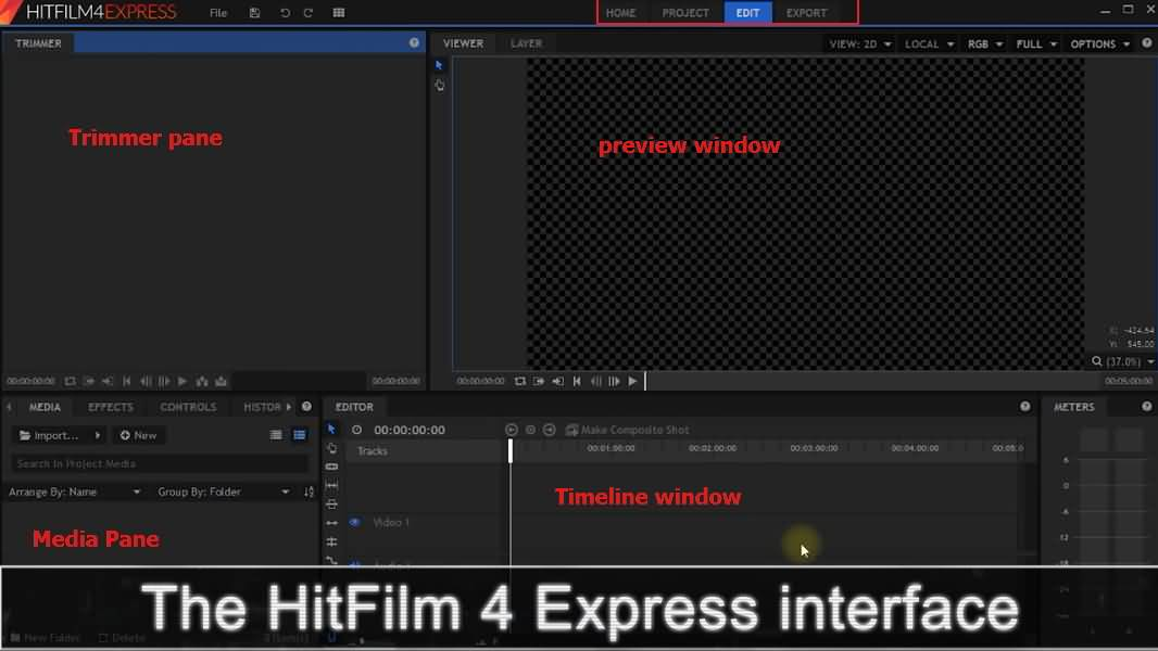 hitfilm interface