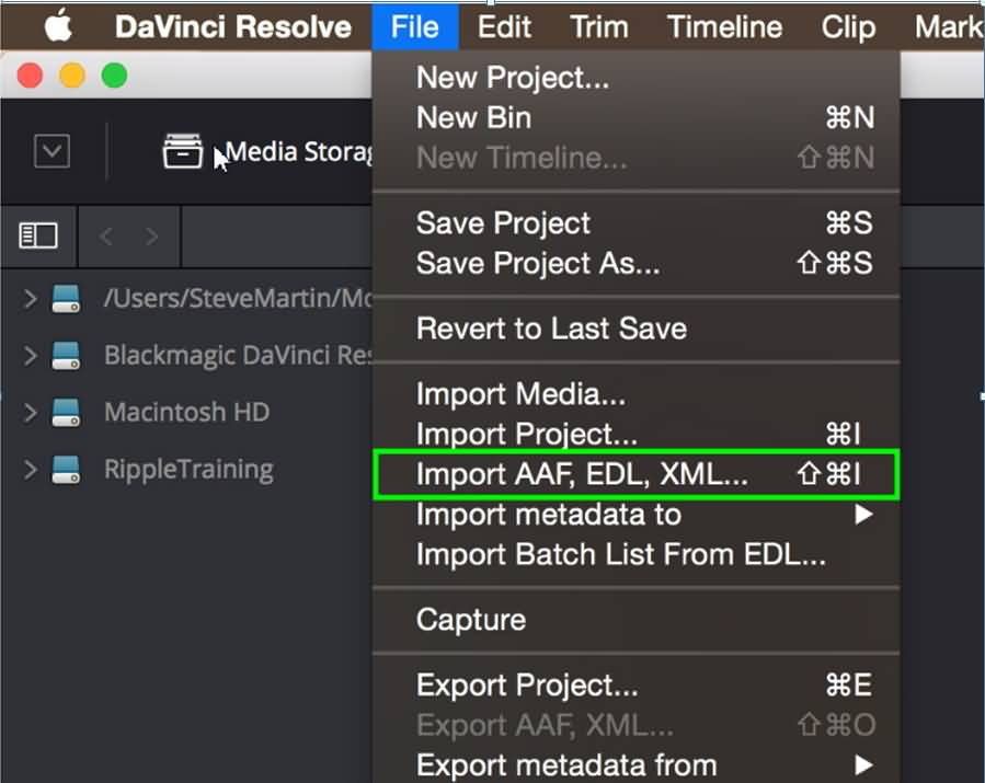 import XML to Resolve