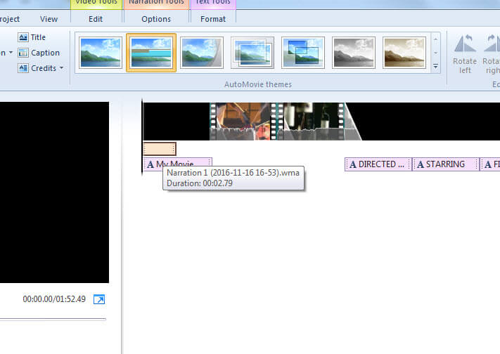 editar voz de video en movie maker