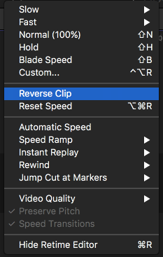 Reverse a video clip using FCP -1