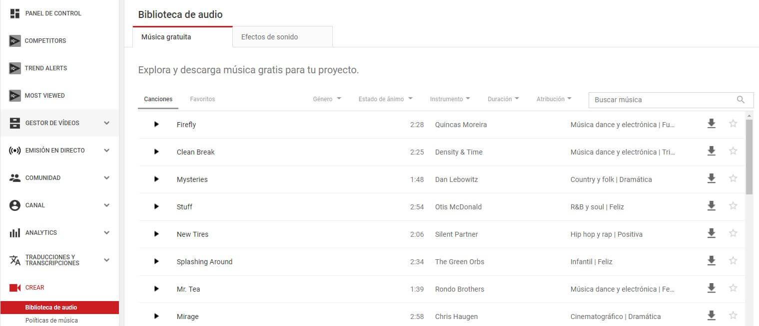 youtube biblioteca de audio musica libre de derecho