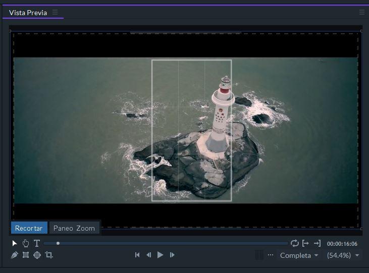 Ejemplo de recorte de FilmoraPro