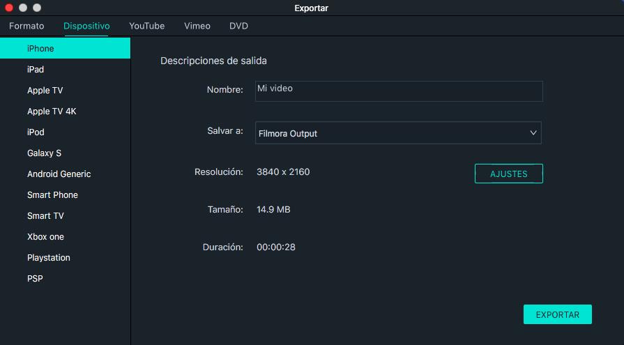 exportar a dispositivo filmora versión 9