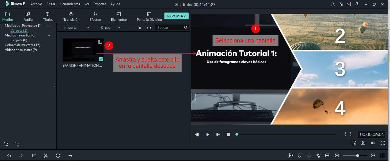 pantalla dividida-elegir clips