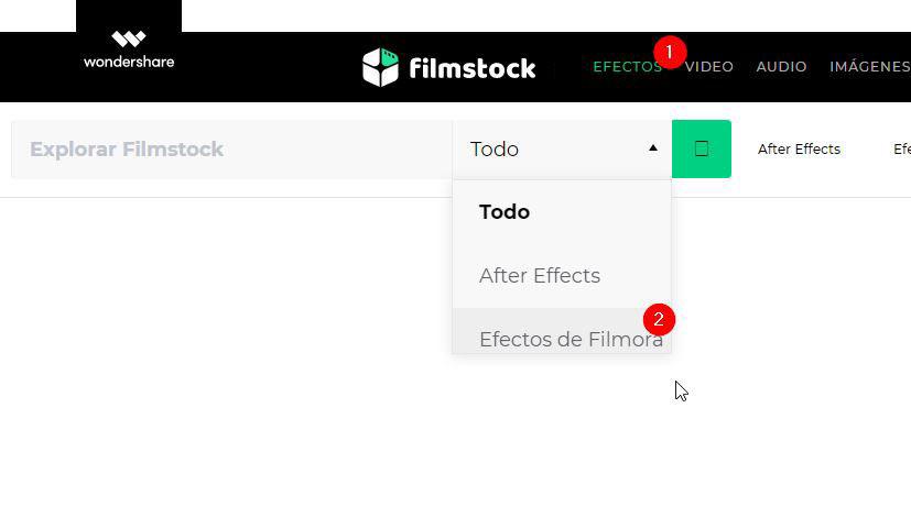 acceder efectos filmora desde Filmstock