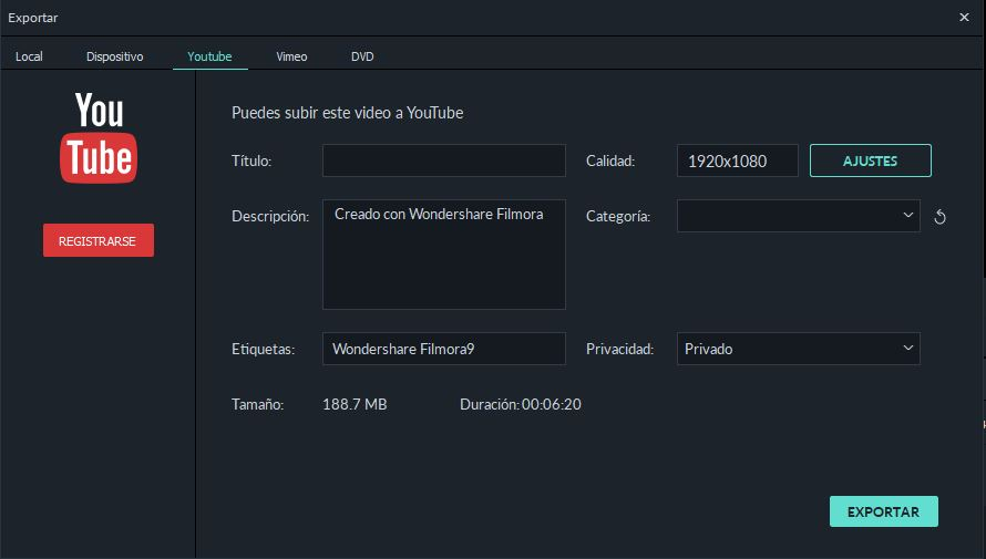 export video a youtube desde filmora