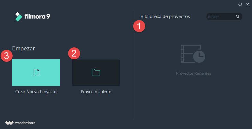 Interfaz de la Pantalla de Inicio de Filmora9