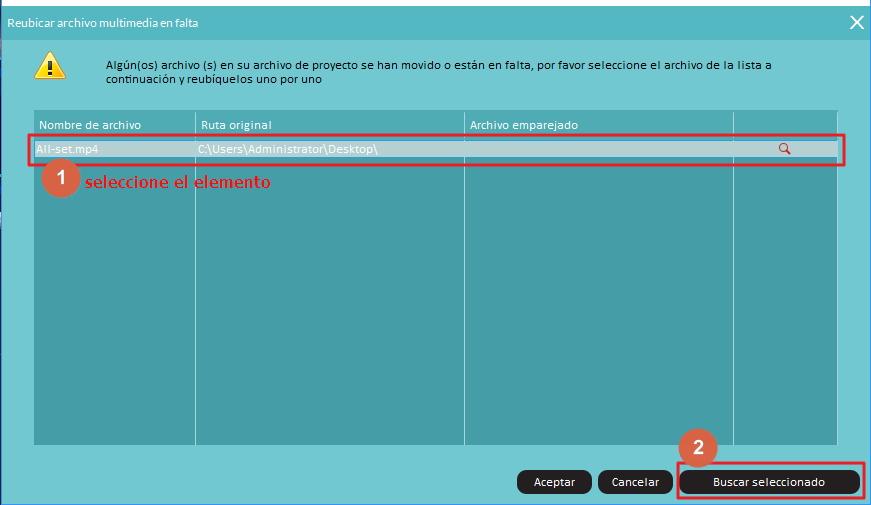 Reubicar los Archivos Multimedia Desaparecidos del Proyecto con Filmora9
