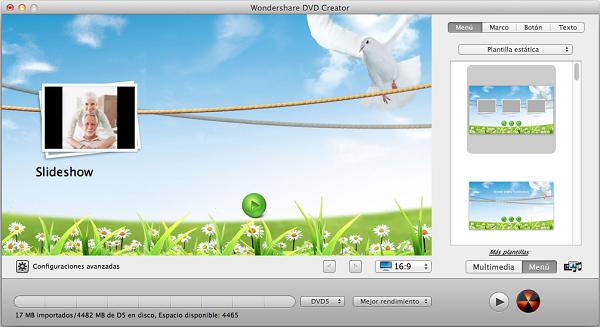 Menú de la aplicación alternativa a DVD Flick, para Mac