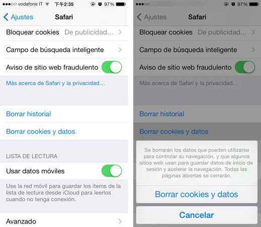 borrar cookies y datos en iPhone