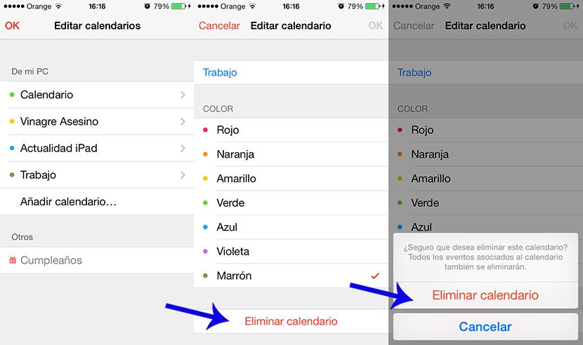 eliminar calendarios en iPhone