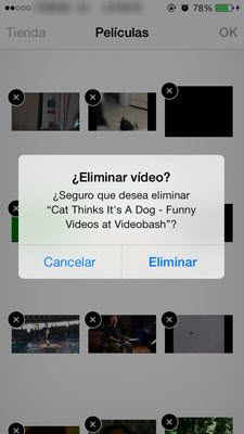 eliminar video desde iPhone