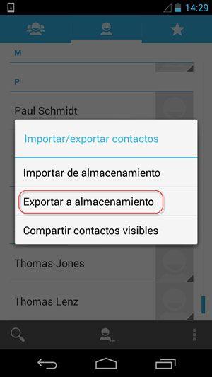 exportar contactos a android VCF 2