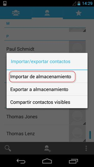 exportar contactos desde android a android