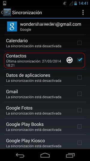 transferir contactos desde el ordenador a Android