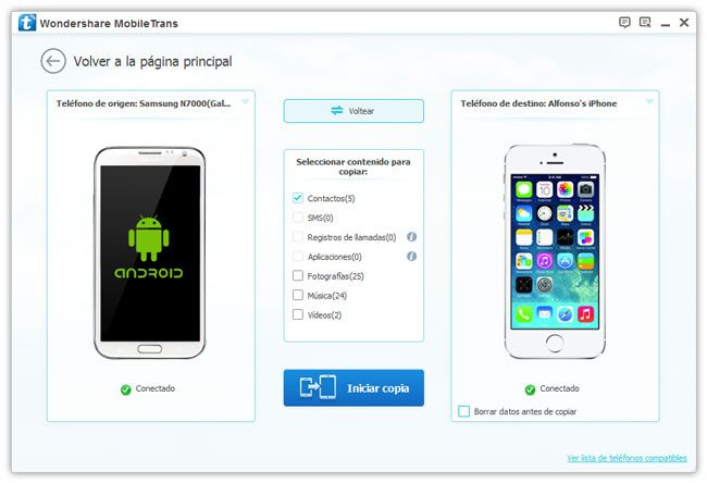 android contacts to iphone 5S