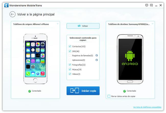 Transfiera datos del iPhone al Galaxy S4