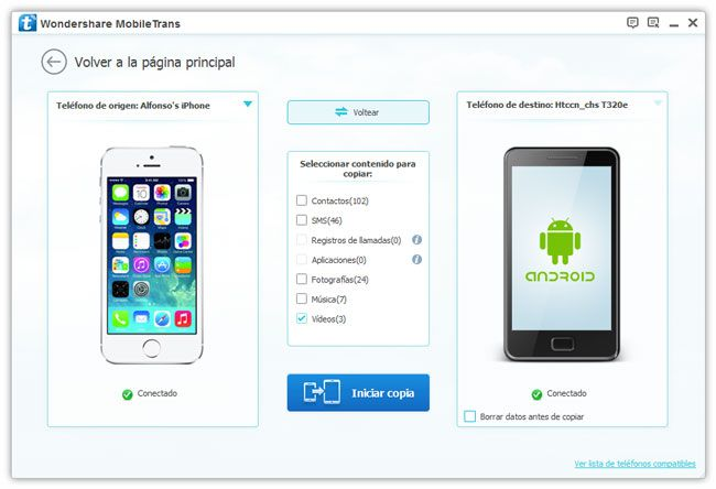 transfiere videos de iphone a android