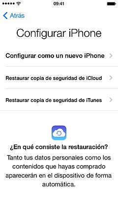 restaurar desde backup de iCloud