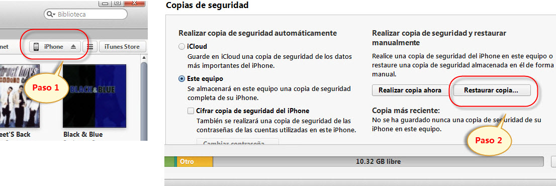restaurar desde backup de itunes