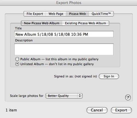 export iphoto to picasa