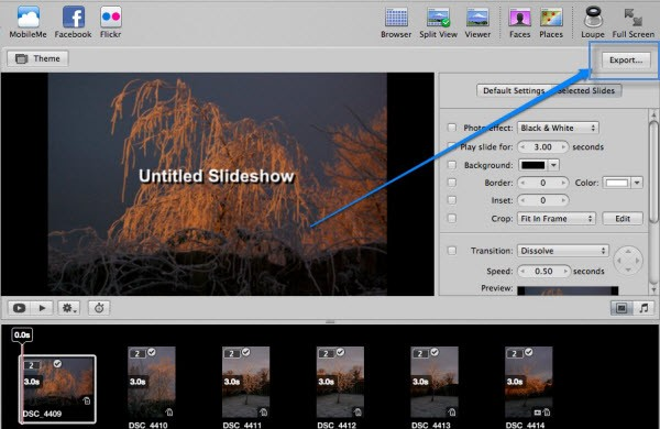 aperture slideshow export