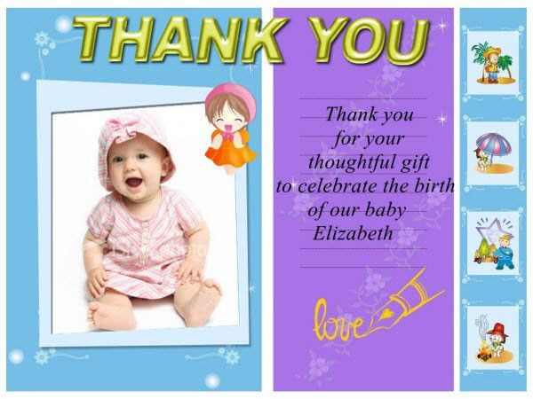 personalized baby thank you cards