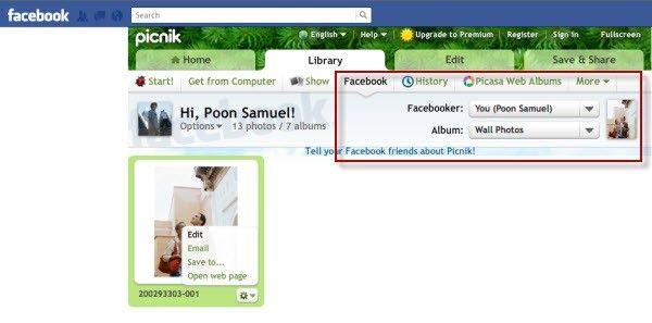 select facebook album